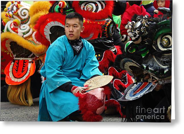 Chinese New Year Lion Dancers, Chinatown, Boston, Massachusetts, 2016 Greeting Card