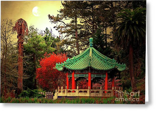 Chinese Pavilion Under Golden Moonlight Greeting Card