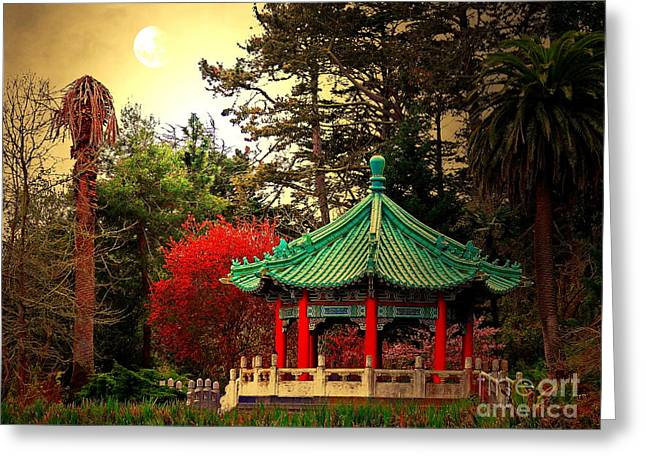 Chinese Pavilion Under Golden Moonlight Greeting Card by Wingsdomain Art and Photography