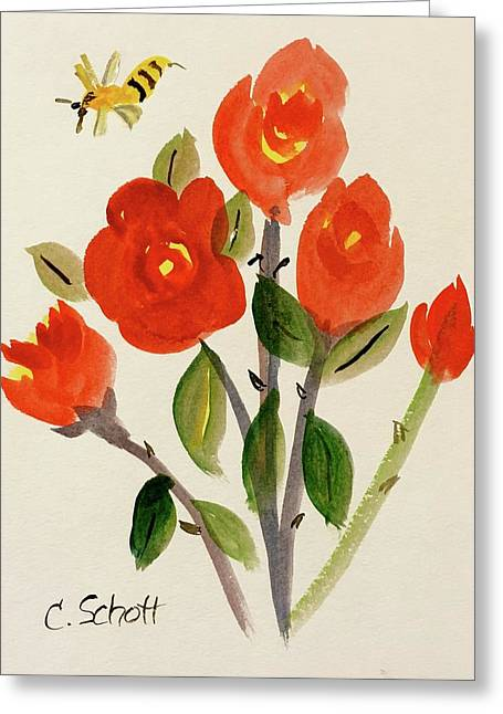 Chinese Red Rose With Bee Greeting Card