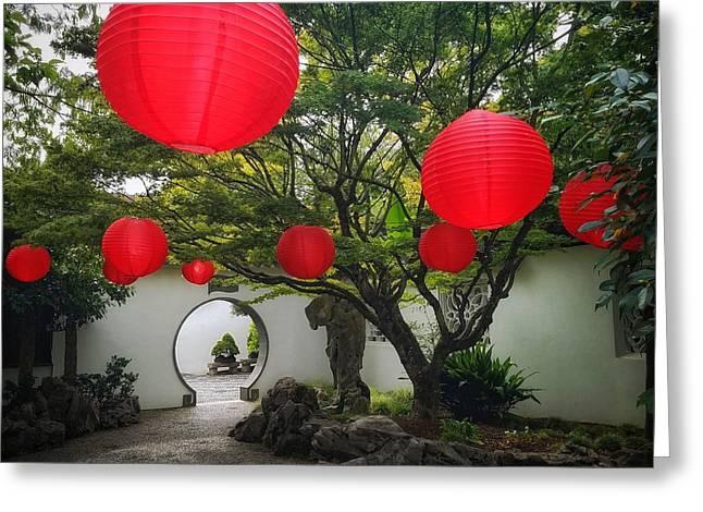 Chinese Tea Garden In Portland, Oregon Greeting Card