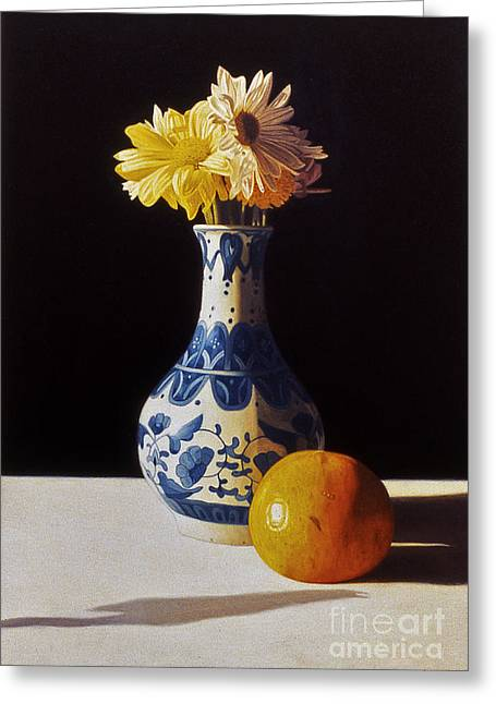 Chinese Vase And Orange Greeting Card by Daniel Montoya