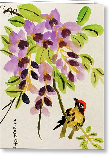 Chinese Wisteria With Warbler Bird Greeting Card