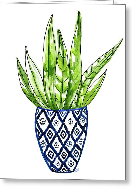 Chinoiserie Cactus No2 Greeting Card by Roleen Senic