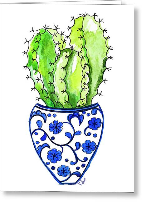 Chinoiserie Cactus No3 Greeting Card by Roleen Senic