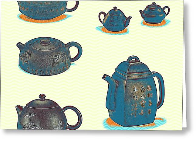 Chinoiserie Stoneware Teapots And Covers 2 Greeting Card