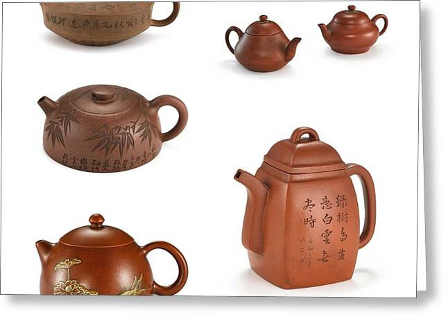 Chinoiserie Stoneware Teapots And Covers Greeting Card