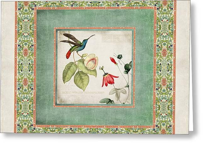 Chinoiserie Vintage Hummingbirds N Flowers 2 Greeting Card