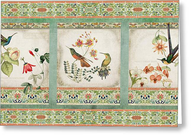 Triptych - Chinoiserie Vintage Hummingbirds N Flowers Greeting Card