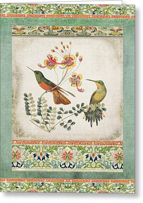 Triptych - Chinoiserie Vintage Hummingbirds N Flowers Greeting Card by Audrey Jeanne Roberts