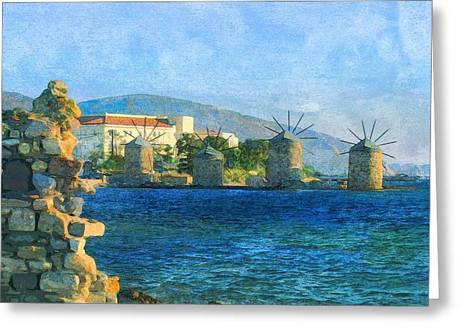 Chios Greece Windmill Sea Marina  Greeting Card