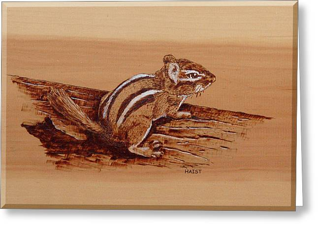 Greeting Card featuring the pyrography Chipmunk by Ron Haist