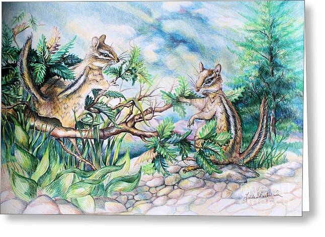 Greeting Card featuring the drawing Chipmunks by Linda Shackelford