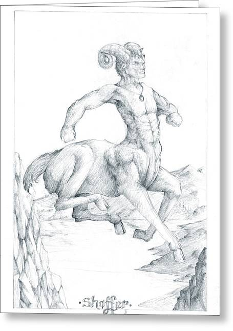 Greeting Card featuring the drawing Chiron The Centaur by Curtiss Shaffer