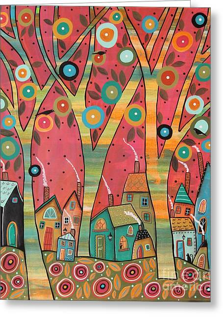 Chirpy Village 1 Greeting Card by Karla Gerard