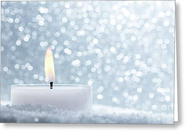 Chistmas Candle Glowing On Glitter Background. Greeting Card