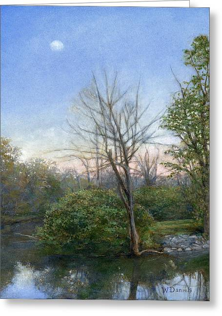 Greeting Card featuring the painting Chittenango Creek- Dusk by Wayne Daniels