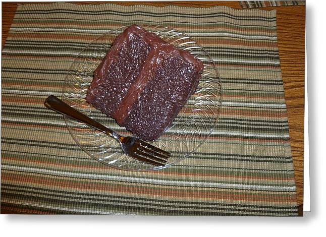 Chocolate Cake Greeting Card by Paula  Smith