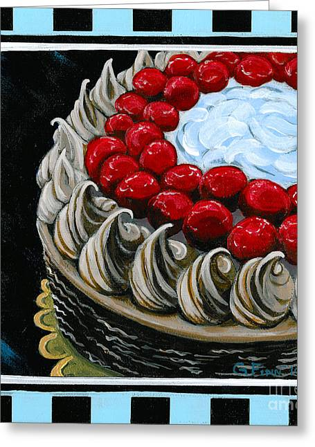 Chocolate Cake With A Cherry On Top Greeting Card