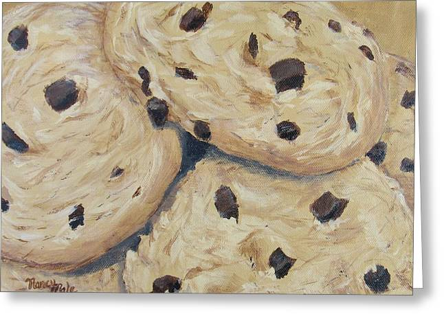 Greeting Card featuring the painting Chocolate Chip Cookies by Nancy Nale