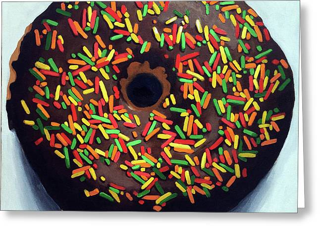 Chocolate Donut And Sprinkles Large Painting Greeting Card