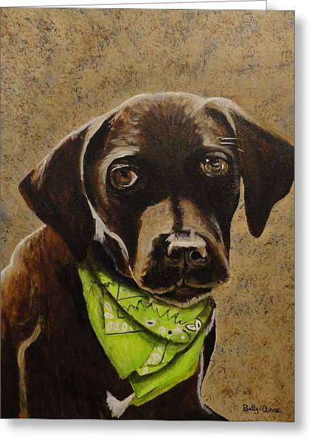 Chocolate Lab Greeting Card by Betty-Anne McDonald