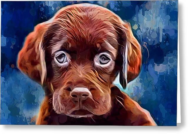 Chocolate Lab Pup Greeting Card