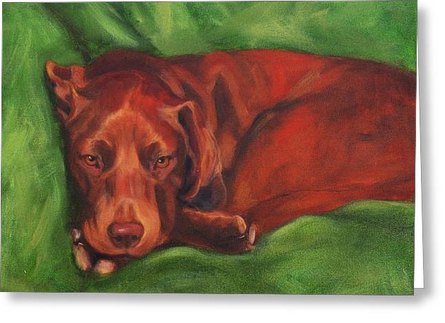 Chocolate Lab Greeting Cards - Chocolate Lab Greeting Card by Pet Whimsy  Portraits