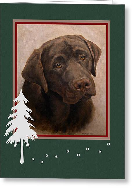 Chocolate Labrador Portrait Christmas Greeting Card by Amy Reges