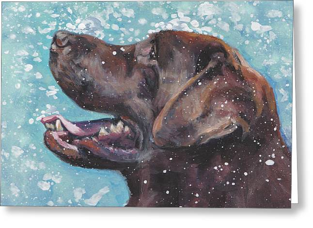 Greeting Card featuring the painting Chocolate Labrador Retriever by Lee Ann Shepard