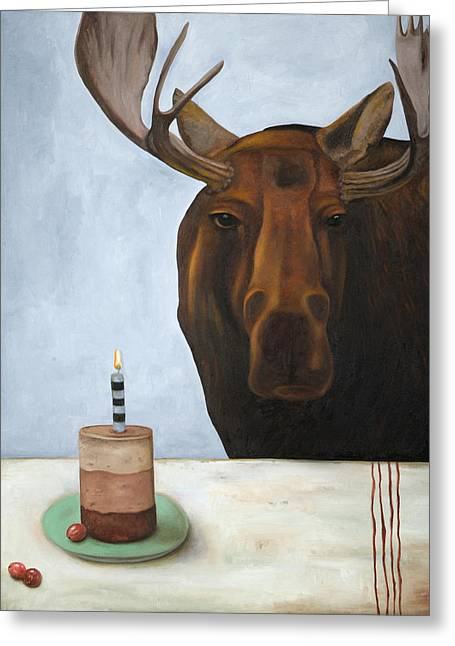 Chocolate Moose Greeting Card by Leah Saulnier The Painting Maniac