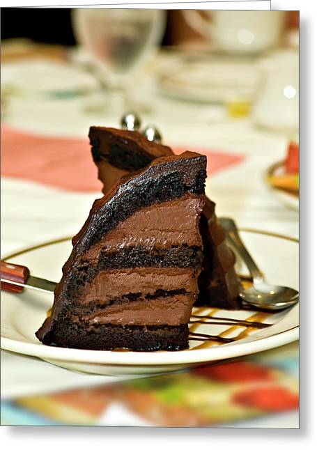 Chocolate Mousse Cake Greeting Card by Carolyn Marshall