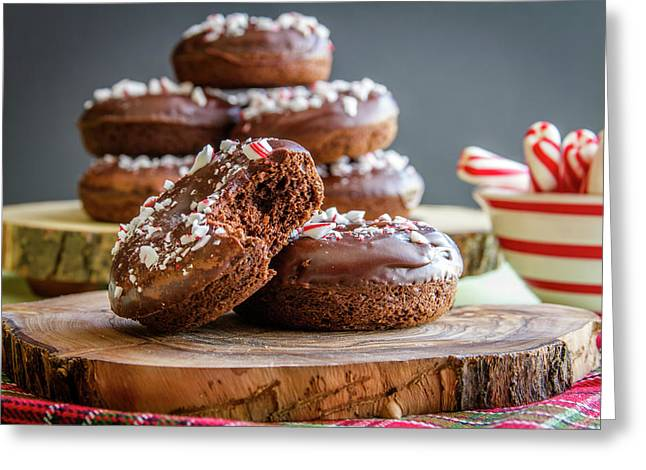 Chocolate Peppermint Iced Donuts Greeting Card by Teri Virbickis