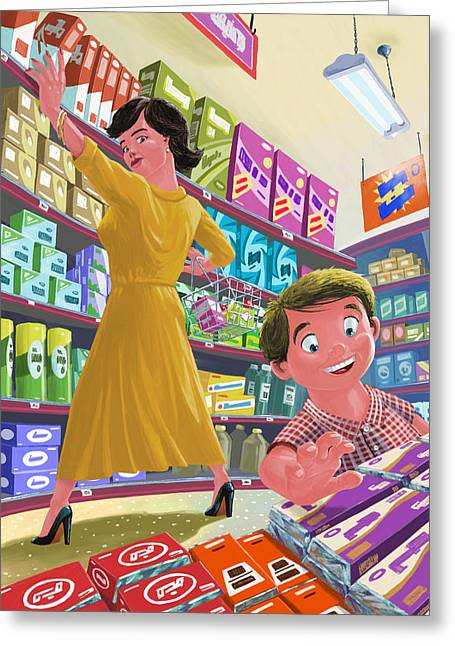 Chocolate Shopping Greeting Card by Martin Davey