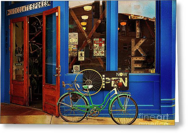 Greeting Card featuring the photograph Chocolate Spokes Bicycle by Craig J Satterlee
