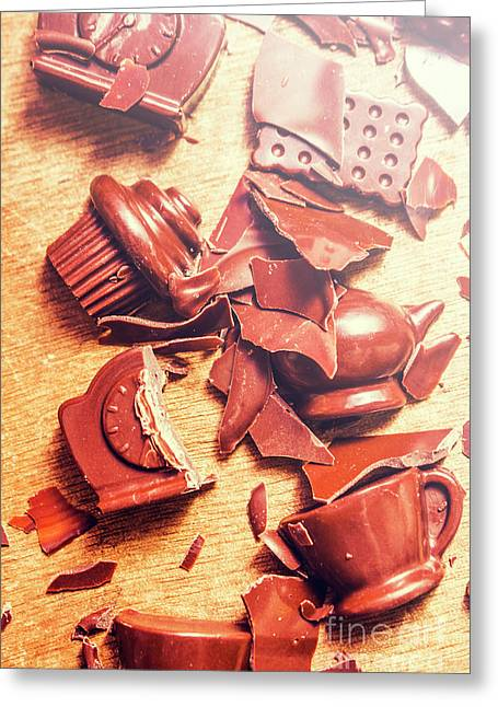 Chocolate Tableware Destruction Greeting Card by Jorgo Photography - Wall Art Gallery