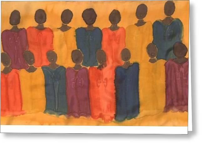 Gospel Tapestries - Textiles Greeting Cards - Choir Greeting Card by Christine  Davis