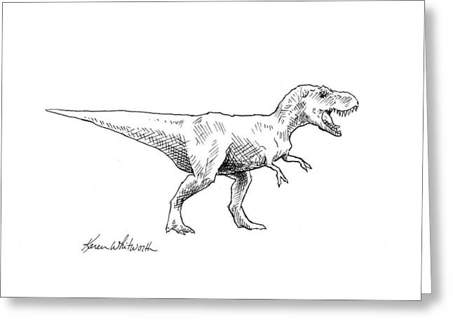 Greeting Card featuring the drawing Tyrannosaurus Rex Dinosaur T-rex Ink Drawing Illustration by Karen Whitworth
