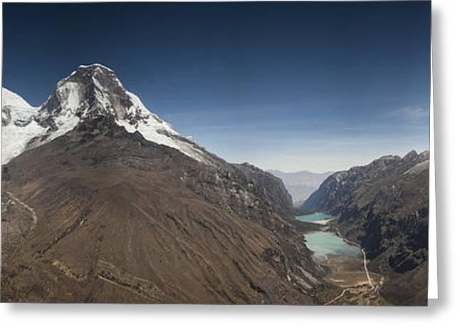 Chopicalqui And Huandoy Mountain Peaks Greeting Card