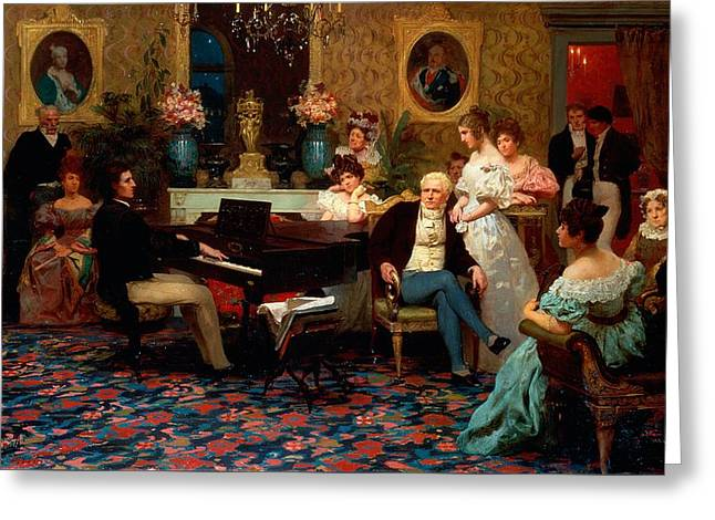 Chopin Playing The Piano In Prince Radziwills Salon Greeting Card