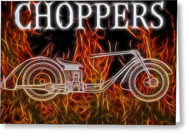 Chopper Motorcycle In Flames Greeting Card by Dan Sproul