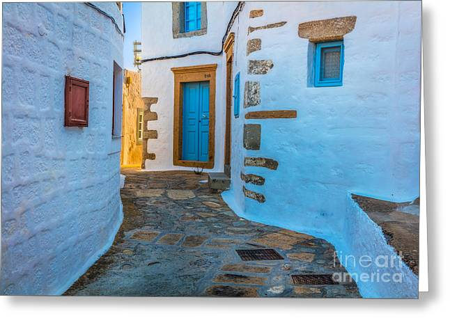 Chora Alley Greeting Card by Inge Johnsson