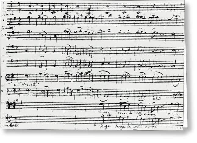 Chorus Of Shepherds, Handwritten Score Of The Opera Ascanio In Alba Greeting Card by Wolfgang Amadeus Mozart