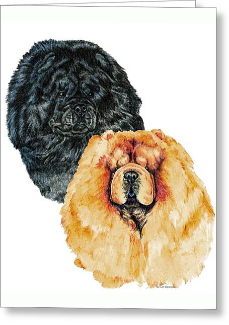 Chow Chows Greeting Card by Kathleen Sepulveda