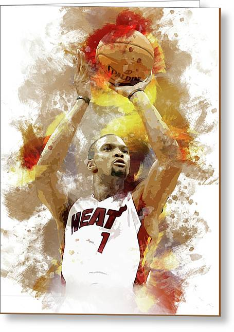 Chris Bosh Miami Heat Greeting Card by Afrio Adistira