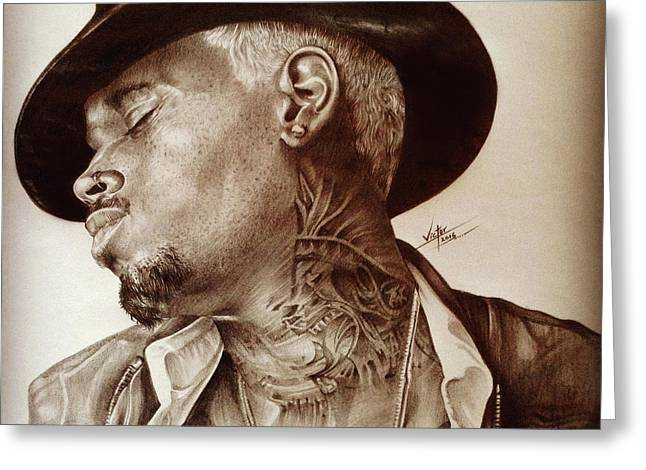 Chris Brown Greeting Card by Ayorinde Segun