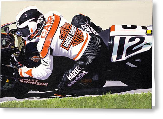 Jeff Taylor Greeting Cards - Chris Carr Harley-Davidson VR1000 Superbike Greeting Card by Jeff Taylor