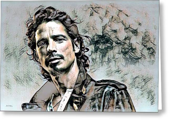 Chris Cornell Illustration  Greeting Card by Scott Wallace