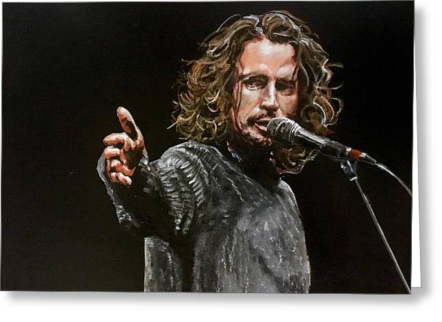Greeting Card featuring the painting Chris Cornell by Joel Tesch
