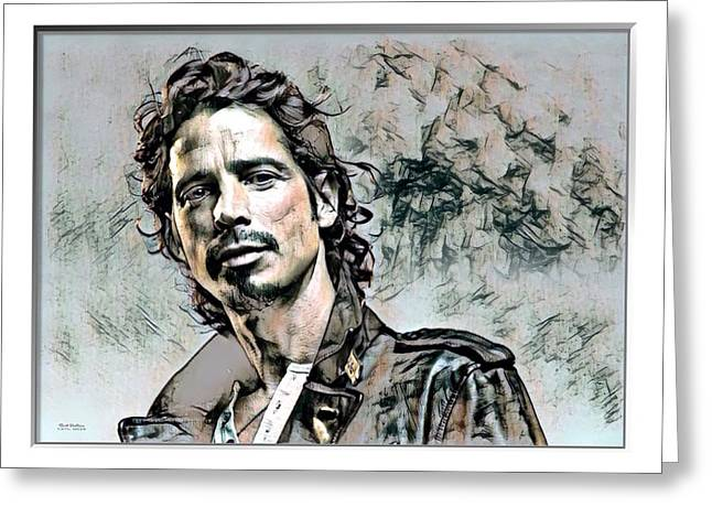Chris Cornell Print  Greeting Card by Scott Wallace